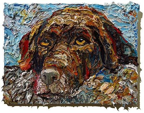 (UNTITLED x1279 - Original oil painting animal dog)