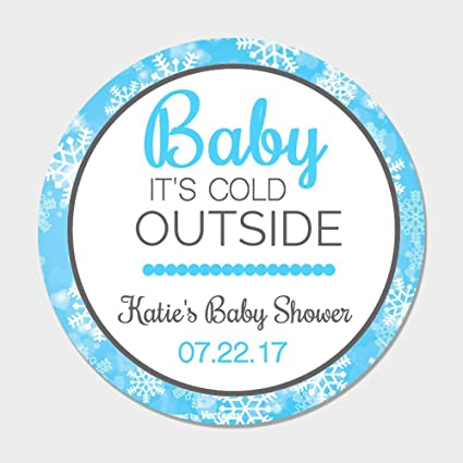 Amazon 40 Personalized Baby Its Cold Outside Blue Shower Favor