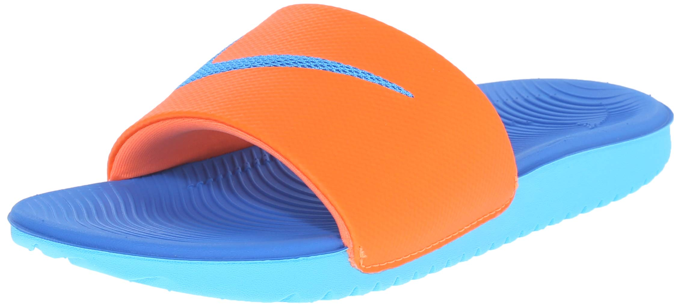 NIKE Kids' Kawa Slide Sandal, Orange/Blue/White, 4 M US Big Kid