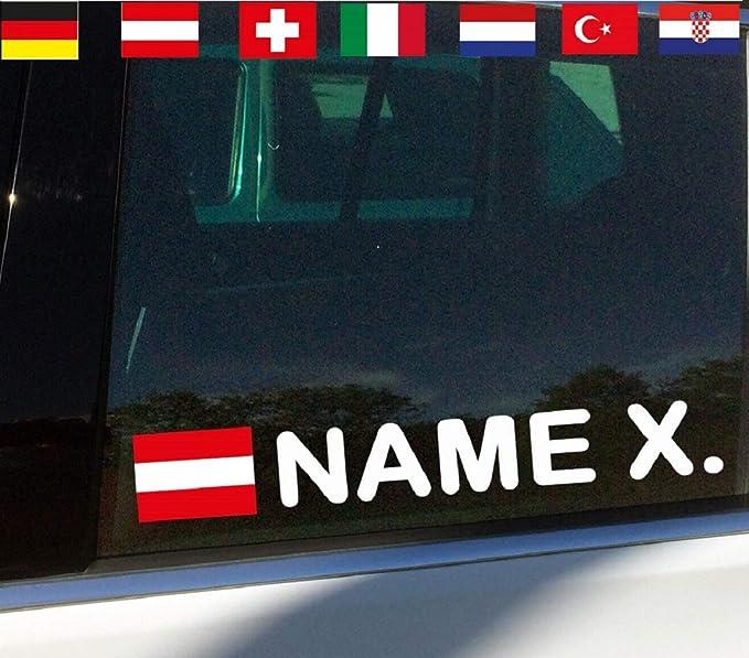 Topdesignshop Fahrername Auto Aufkleber Motorsport Name Flagge Sticker Racing Namensaufkleber Wunsch Tuning Flaggenaufkleber Gestalten Auto