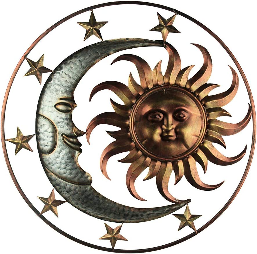 Direct International Metal Celestial Sun Moon and Stars Indoor/Outdoor 30 inch Wall Hanging Art Decor