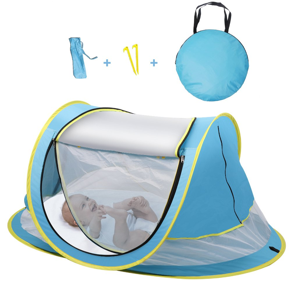 Sunba Youth Baby Tent, Portable Baby Travel Bed, UPF 50+ Sun Shelters for Infant, Pop Up Beach Tent, Baby Travel Crib with Mosquito Net, Sun Shade