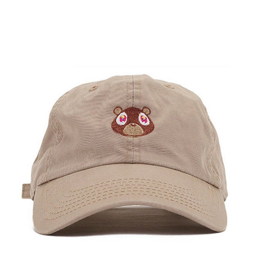 CATOP Washed Cotton Cap Bear Embroidered Curved Plain Dad Hat Strapback Baseball Cap Unisex