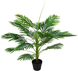 """SN Decor Artificial Tropical Tree Set of 2 Areca Palm in Black Pot 40"""" Palm Tree Faux Topiary for Home Decor Indoor and Outdoor Potted Silk Tree Tropical Greenery - New"""
