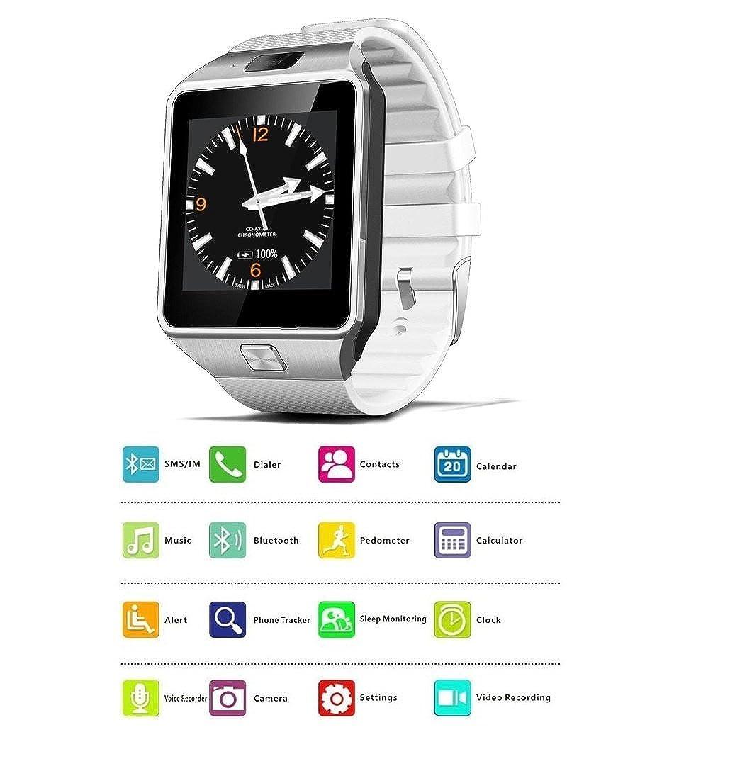 Amazon.com: Reloj Inteligente DEPORTIVO CON CAMARA PARA IPHONE Y ANDROID DIGITAL DE MUJER Y HOMBRE UNISEX ACCESORIOS PARA CELULARES RE0108 WHITE: Watches