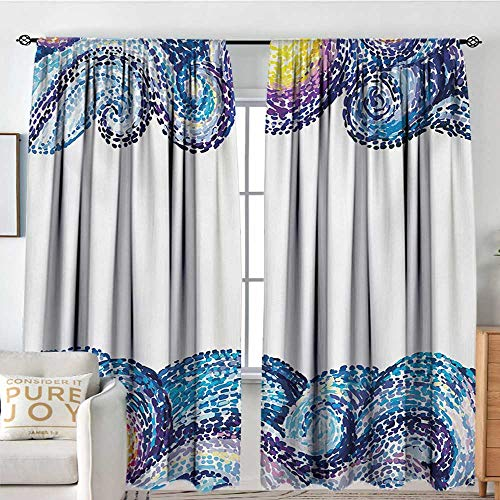 Blackout Thermal Insulated Window Curtain Valance Starry Night,Artistic Dots Wave Design with Watercolor Brush Strokes Nautical Inspirations,Multicolor,Rod Pocket Valances 72