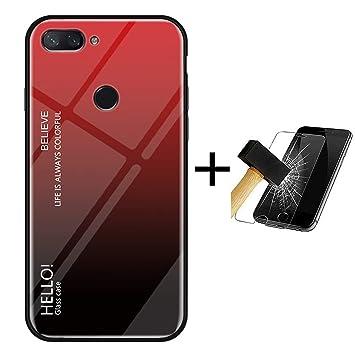 PANXIYUE Funda Xiaomi Mi 8 Lite,Carcasas de Vidrio en Color Degradado para Xiaomi Mi 8 Lite