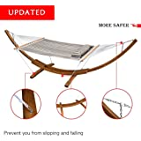 Hammock Stand Wood with Quilted Fabric for Outdoor Garden Patio, One Pillow Included,450 lbs Capacity(Blue&Green Stripes)