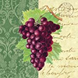 Paperproducts Design 5573 Beverage Cocktail Napkin, 5 by 5-Inch, Grapes and Script