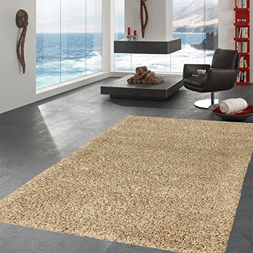 Ottomanson Soft Cozy Color Solid Shag Area Rug Contemporary Living and Bedroom Soft Shag Area Rug, Beige, 6'7