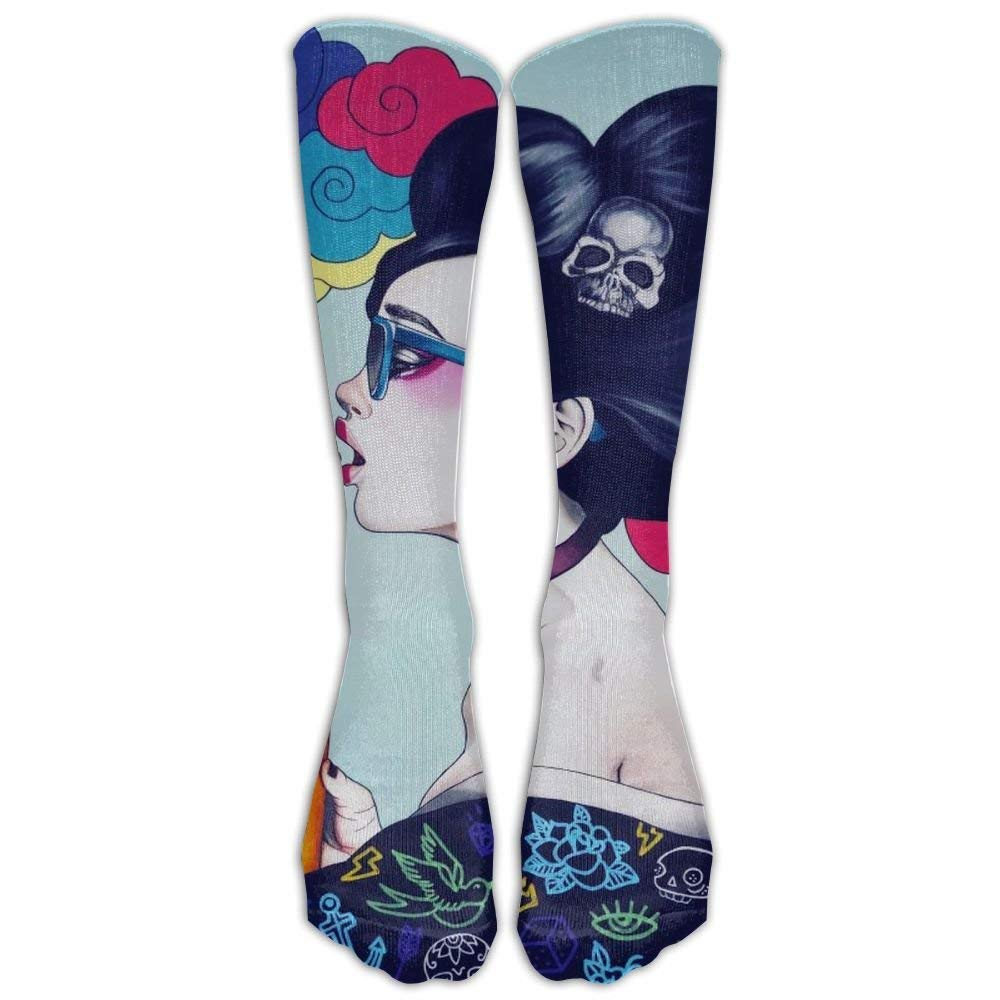 Galaxy Sad Goth Gotik Gothic Women Girl Art Sock Classic Fancy Design Multi Colorful Crew Knee High Socks Running Soccer Stockings