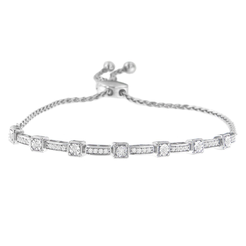 Sterling Silver Diamond Bar Bolo Bracelet (0.25 cttw, H-I Color, I2-I3 Clarity)