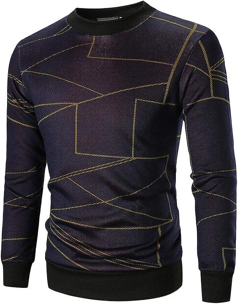Thermal Sport Outwear,Mens Autumn Long Sleeve Printed Pullover Sweatshirt Top Tee Outwear Blouse for Men Teen Boys