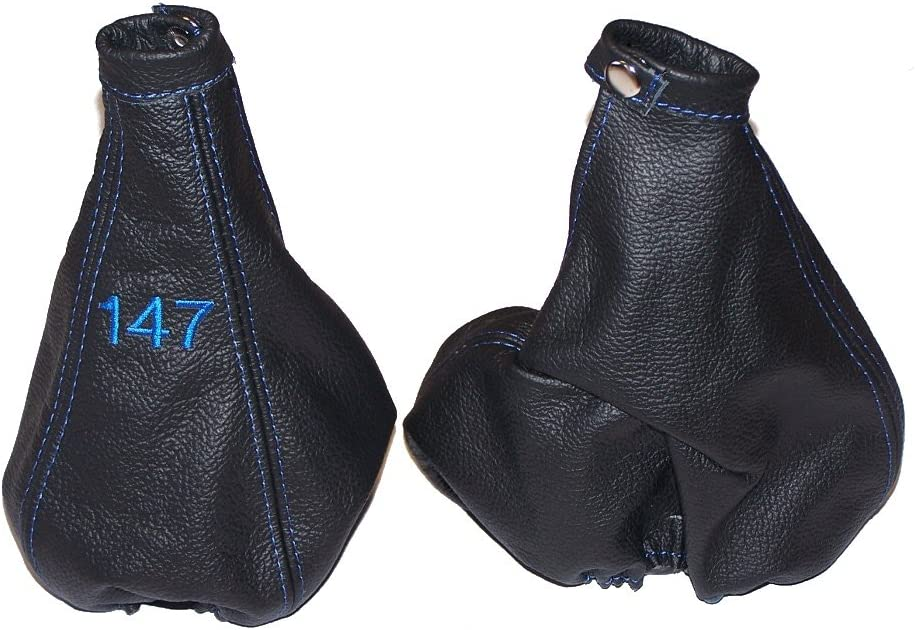 The Tuning-Shop Ltd For Alfa Romeo 147 2000-04 Gear & Handbrake Gaiter Black Italian Leather Blue Logo Embroidery