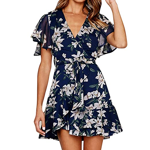 a0cb1fad03131 FRana Dresses for Women Holiday Summer Floral Print Short Sleeve V ...