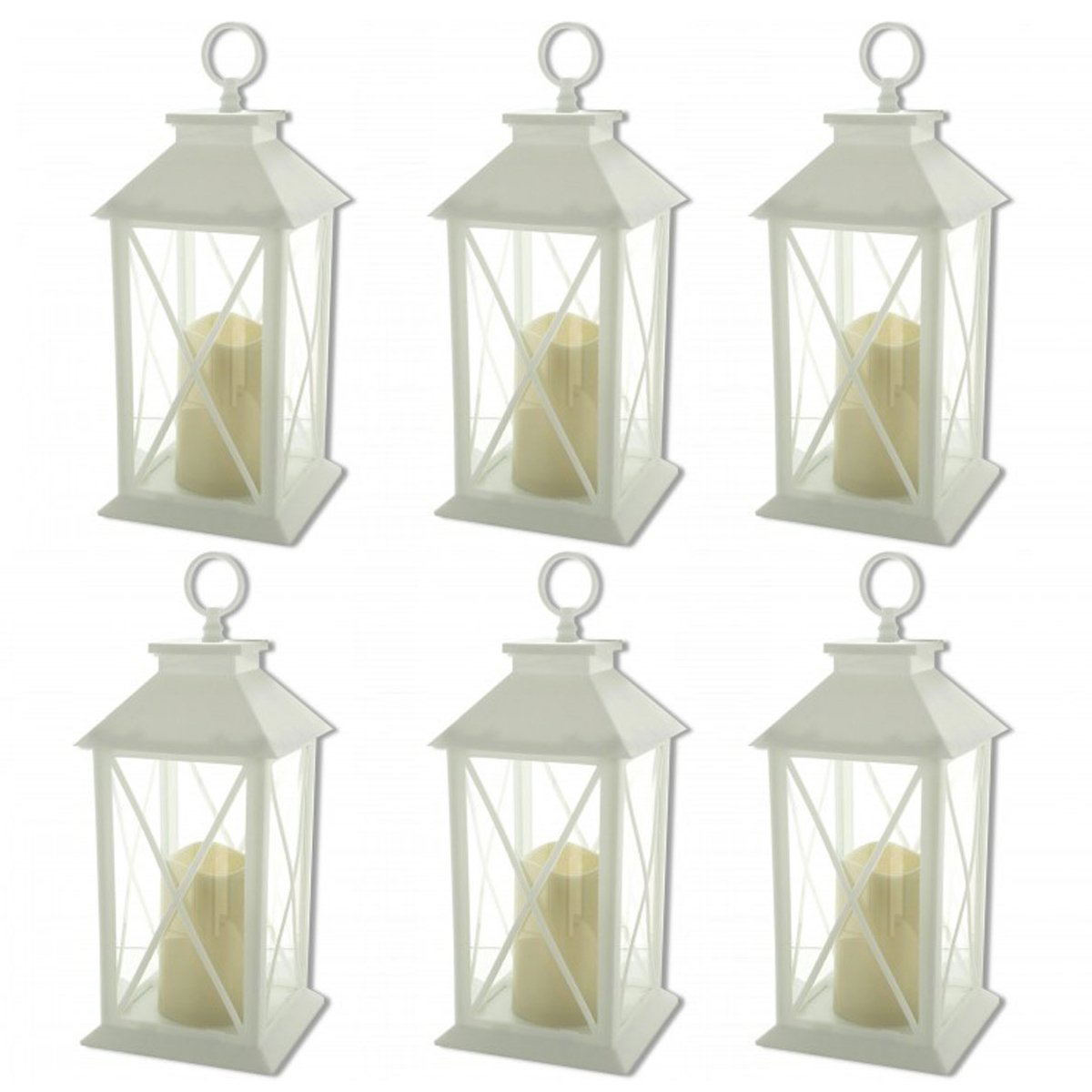 Tectron Int 6-Decorative White Lanterns Cross-X-Design with LED-Flameless Flickering-Candle