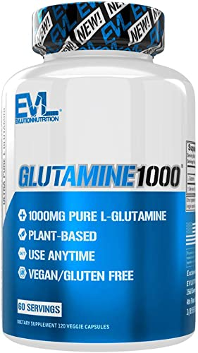Evlution Nutrition L-Glutamine 1000, 1g Pure L Glutamine Per Serving, Post Workout, Nitrogen Transporter, Immune Support, Vegan, Gluten-Free, Veggie Capsules 60 Servings