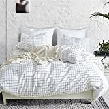 Black and White Duvet Set 3 Piece Mini Grid Duvet Cover Set, Modern Black and White Plaid Checkered Pattern Comforter Cover with Zipper Closure Reversible Bedding Sets