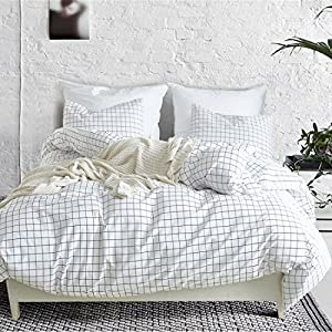 3 Piece Mini Grid Duvet Cover Set, Modern Black and White Plaid Checkered Pattern Comforter Cover With Zipper Closure Reversible Bedding Sets