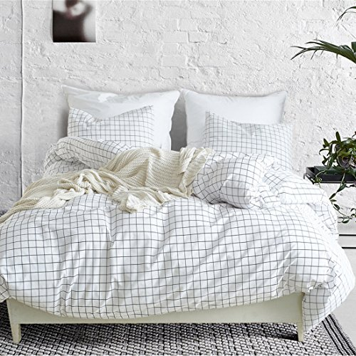 3 Piece Mini Grid Duvet Cover Set, Modern Black and White Plaid Checkered Pattern with Zipper Closure Reversible Bedding Sets (And Duvet White Set Black)