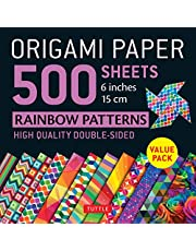 """Origami Paper 500 sheets Rainbow Patterns 6"""" (15 cm): Tuttle Origami Paper: High-Quality Double-Sided Origami Sheets Printed with 12 Different Designs (Instructions for 6 Projects Included)"""