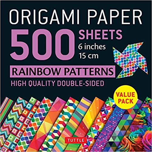 Instructions for 6 Projects Included 15 cm : Tuttle Origami Paper: High-Quality Double-Sided Origami Sheets Printed with 12 Different Designs Origami Paper 500 sheets Rainbow Patterns 6