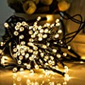 Solar String Lights, 2 Pack 100 LED Solar Fairy Lights 33 Feet 8 Modes Copper Wire Lights Waterproof Outdoor String Lights