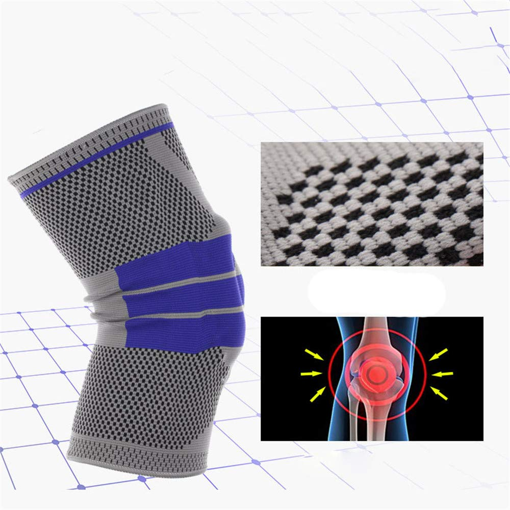 Crystalzhong Knee Guards Fitness Breathable Winding Equipment Maintenance 1 Piece Knit Exercise Knee Pressure Cycle Running Basketball Knee Support Color : Gray, Size : Medium