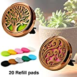vent coffee - Maromalife Car Diffuser Vent Clip Locket Aromatherapy Diffuser Car Fragrance Vent Car Air Freshener Stainless Steel Coffee Gold Diffuser Locket Cloud & Tree of Life (2 Pcs)