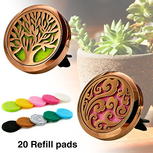 Maromalife Car Diffuser Vent Clip Locket Aromatherapy Diffuser Car Fragrance Vent Car Air Freshener Stainless Steel Coffee Gold Diffuser Locket Cloud & Tree of Life (2 Pcs)