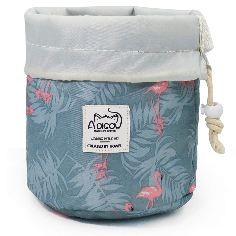 Drawstring Makeup Bag for Women Portable Travel Cinch Top Compact Cosmetic Organizer Girls Blue Pink Flamingo