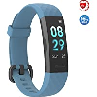 BingoFit Muse Fitness Tracker Step Counter with Heart Rate Monitor (Blue)