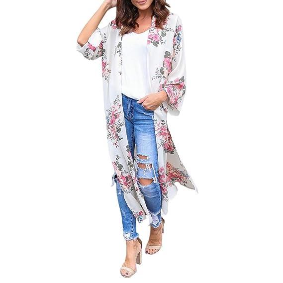 Cinnamou Cardigans de Gasa de mujer Verano, Abrigo informal con capa abierta de estampado floral