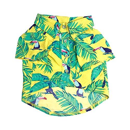 LUCKSTAR Pet T-Shirt/Dog Clothing Hawaiian Breeze Dog Apparel Sundress T Shirt Pet Clothing, Puppy Clothes, Summer Hawaiian Styles Shirts, Colorful Beachwear Dog Shirts (M, Yellow)