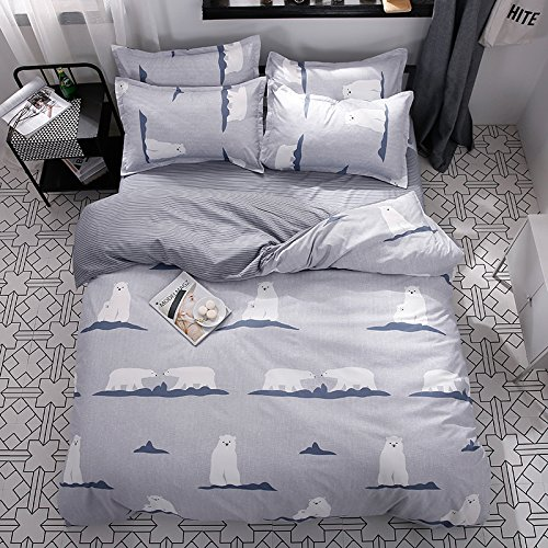 KFZ Bed SET (Twin Full Queen King size) [duvet cover, Flat sheet, pillow cases] No comforter FD Polar Bear Deer Duck Fruit Animal design for Kids Adults Sheet Set (Polar (Bears Full Bed)
