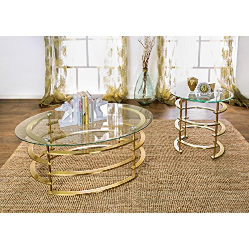 Furniture of America Odella Contemporary 2-piece Glam Glass Top Accent Table Set Gold Gold Finish by Furniture of America