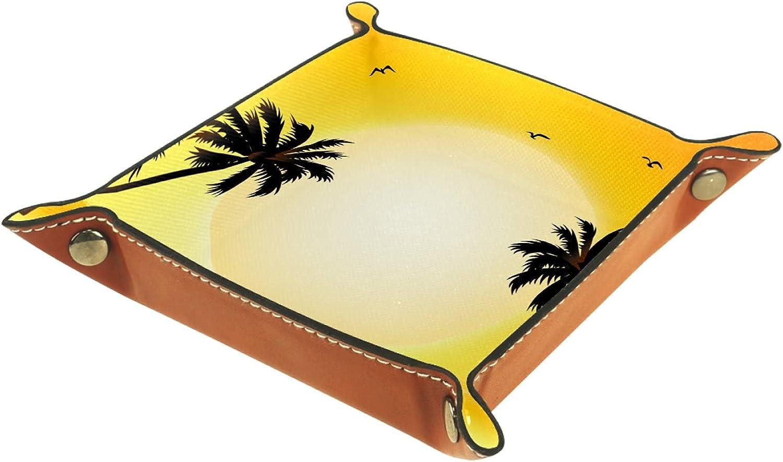 Bandeja de cuero para guardar joyas, bandeja de dados, bandeja de noche, para cambio de moneda, teléfono y soporte para caramelos, bandeja de entrada, palma tropical puesta de sol escena