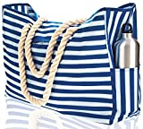 Beach Bag XXL (HUGE). 100% Waterproof. L22''xH15''xW6''. Cotton Rope Handles, Top Magnet Clasp, Two Outside Pockets. Blue Stripes Shoulder Beach Tote has Phone Case, Built-In Key Holder, Bottle Opener