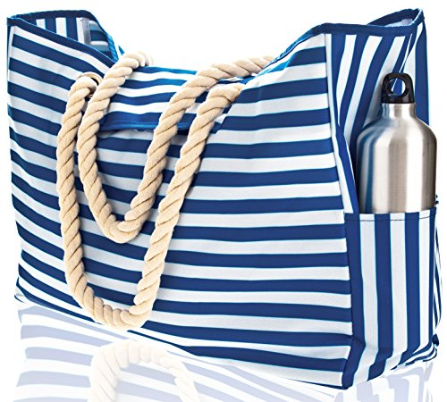 Beach Bag XXL (HUGE). 100% Waterproof. L22xH15xW6. Cotton Rope Handles, Top Magnet Clasp, Two Outside Pockets. Blue Stripes Shoulder Beach Tote has Phone Case, Built-In Key Holder, Bottle Opener