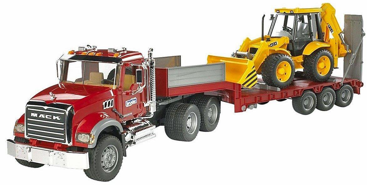 Bruder 02813 Mack Granite Flatbed Truck with JCB Loader Backhoe