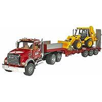 Bruder 02813 - Camion de transport MACK rouge avec tractopelle JCB 4CX jaune