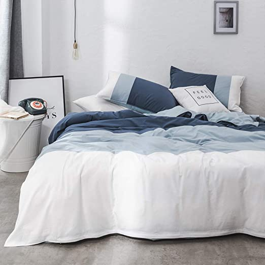 VM VOUGEMARKET Queen Duvet Cover Set Triangle Pattern,100/% Cotton Reversible Striped Duvet Cover with 2 Weave Pillowcases,Luxury Stylish Bedding Set-Queen,Triangle