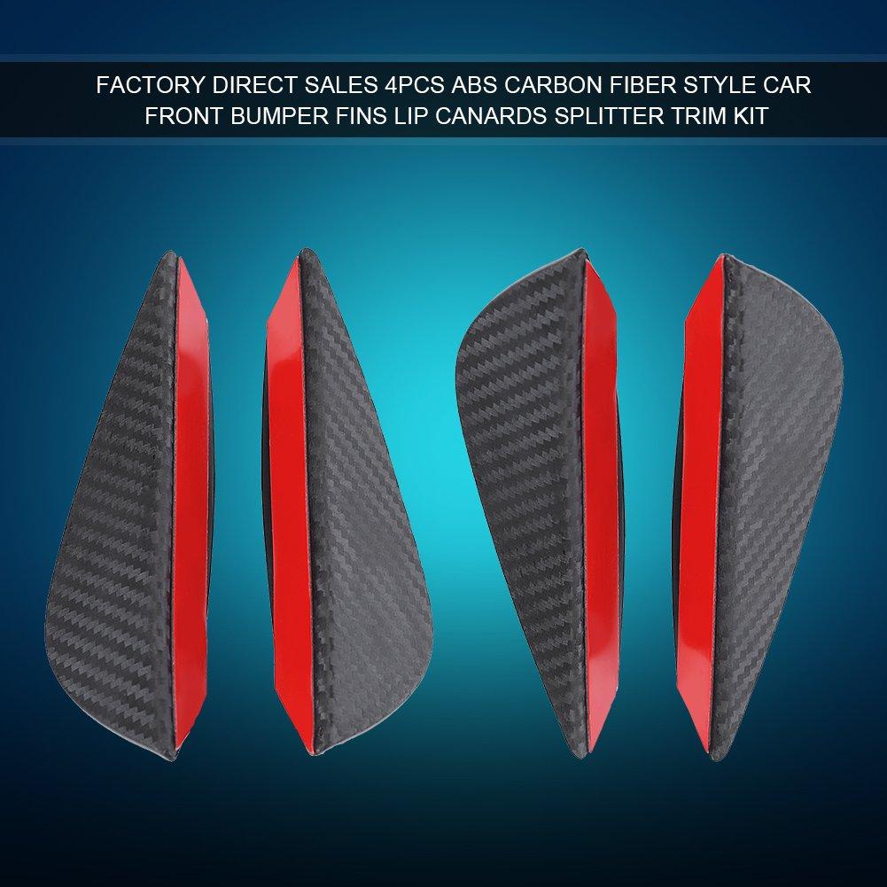 4pcs Universal Front Bumper Spoiler Lip Carbon Fiber Car Front Bumper Fins Lip Spoiler Canards