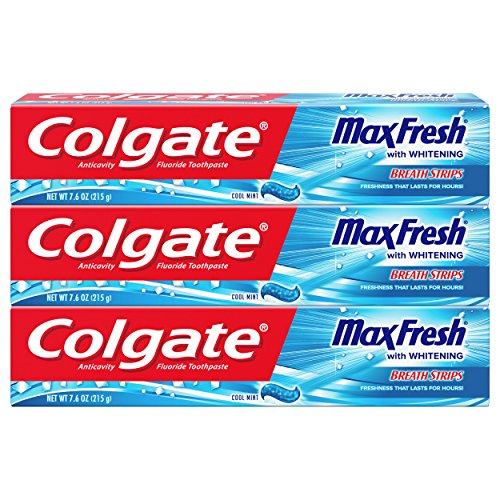 Colgate Max Fresh Toothpaste with Breath Strips, Cool Mint – 7.6 ounce, 3 Count
