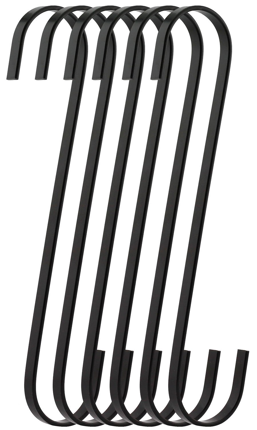 RuiLing 6-Pack 9 Inch Black Chrome Finish Steel Hanging Flat Hooks - S Shaped Hook Heavy-Duty S Hooks, for Kitchenware, Pots, Utensils, Plants, Towels, Gardening Tools, Clothes