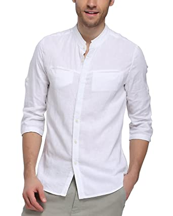 1d1524cfda30c7 BYLUNTA Mens Slim Fit Linen Cotton Band Collar White Long Sleeve Business  Casual Shirt Small