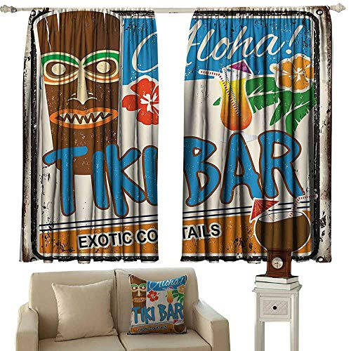 (Tiki Bar Decor Classical Curtain Rusty Vintage Sign Aloha Exotic Cocktails Coconut Drink Antique Nostalgic Darkening and Thermal Insulating 55
