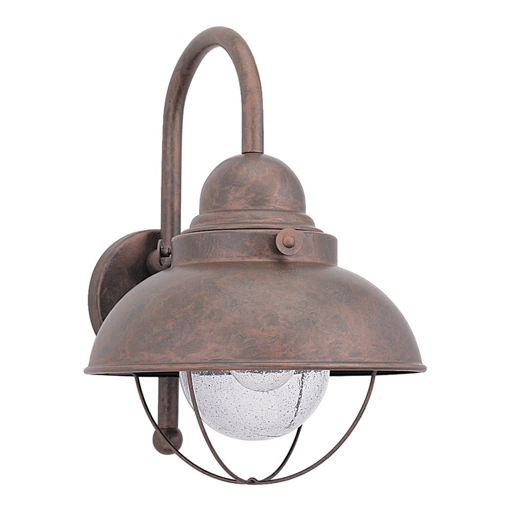 Sea Gull Lighting 8871-44 Sebring One-Light Outdoor Wall Lantern with Clear Seeded Glass Diffuser, Weathered Copper Finish