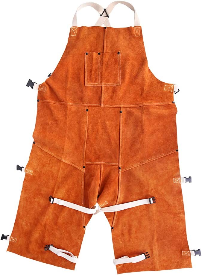24 W x 42 L EULANGDE Cowhide Split Leather Work Overall Apron Heat-resistant Welded Apron with Adjustable Split Legs and Front Bag Cattle Hide Split Leather Safety Suit,L XL XXL XXXL