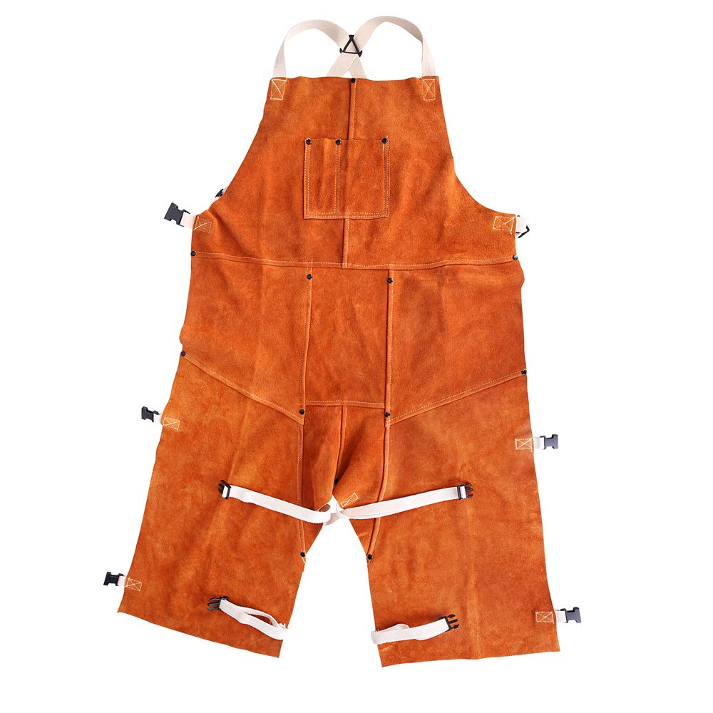 EULANGDE Heat-resistant Welded Apron with Adjustable Split Legs and Front Bag Cattle Hide Split Leather Safety Suit, Fire-proof and Wear-resistant,L XL XXL XXXL (24'' W x 48'' L)